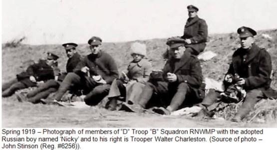 "Photograph of Troop 4 - ""B"" Squadron RNWMP with Nicky - Vladivostok Siberia"