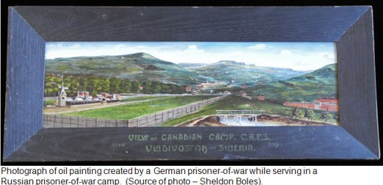 Photograph of oil paint of Vladivostok Racetrack - painted 1919 by German POW