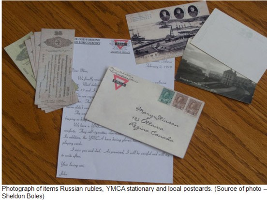 Photograph of YMCA stationary, postcards & Russian roubles - 1919