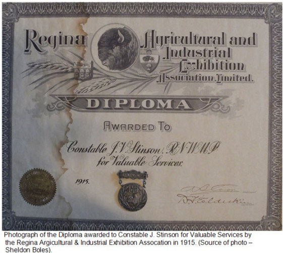 Photograph of 1915 Regina Exhibition Diploma awarded to Cst. John Stinson
