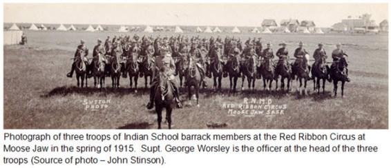 Photograph of 1915 RNWMP Musical Ride at Moose Jaw, Saskatchewan