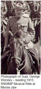 Photograph of Supt. George Worsley - leading 1915 RNWMP Musical Ride at Moose Jaw
