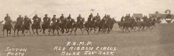 Photograph of the 1915 RNWMP Musical Ride at Moose Jaw Blue Ribbon Circus