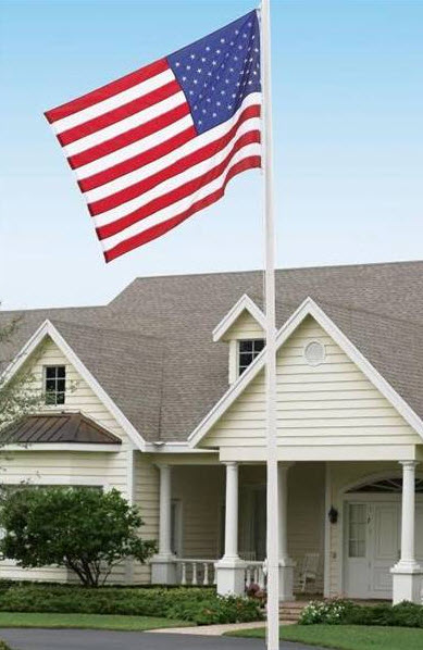 photograph of flag infront of Van Barfoot's home