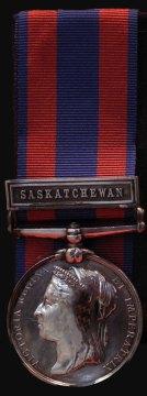 Photograph of a North West Rebellion Medal with Saskatchewan Bar