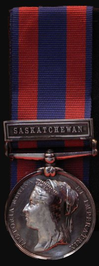 Photograph of a North West Rebellion Medal with Saskatchewan Bar