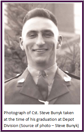 Photograph of Steve Bunyk - as a recruit at RCMP Depot Division in Regina