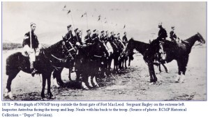 Photograph of NWMP members on horse back formation holding British lances