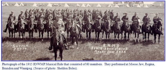 Photograph of the 1915 RNWMP Musical Ride with members of the old Indian school in Regina
