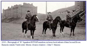 "Photograph of three ""B"" Squadron RNWMP members at their barracks in Vladivostok Siberia in 1919"