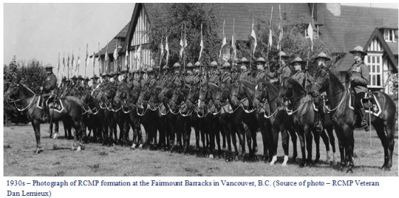 Photograph of the RCMP mounted members at Fairmount Barrack in Vancouver