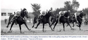 Photograph of RCMP Ride member performing tent pegging