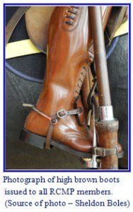 Photograph of RCMP Musical Ride member with lance and high brown boot