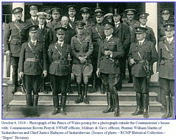 Photograph of the Prince of Wales with members of the NWMP Officer's Mess - October 6, 1919 - Regina, Sask