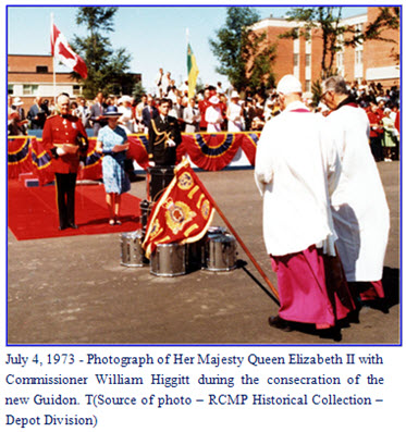 Photograph of Queen Elizabeth II presenting a new Guidon to the RCMP at 'Depot' Division