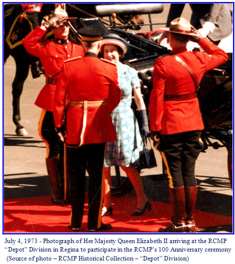 "Photograph of Queen Elizabeth II being met by the Commissioner of the RCMP at ""Depot"" Division in Regina, Sask."
