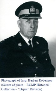 "Photograph of RCMP Insp. Herbert Robertson - ""Depot"" Division Training Officer in 1959"