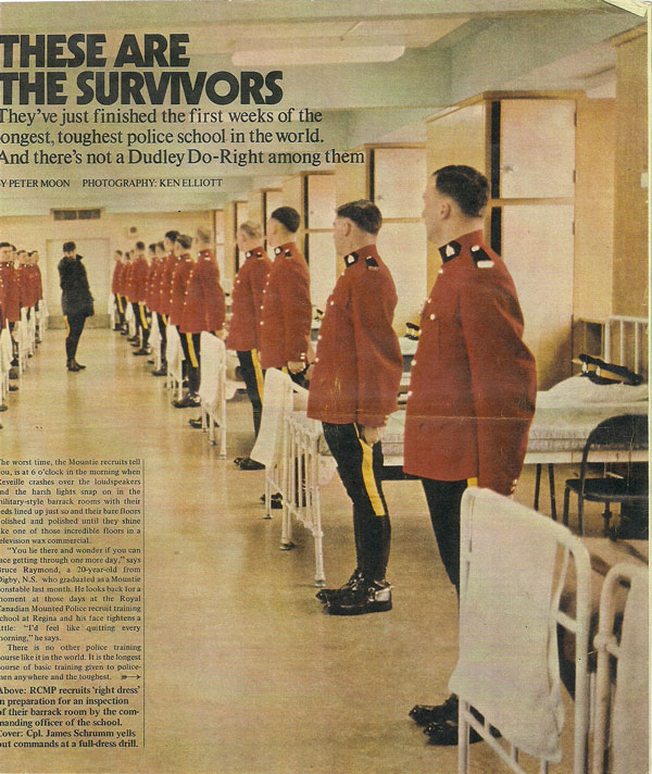 Photograph of the 1971 Star Weekly magazine about the RCMP in training