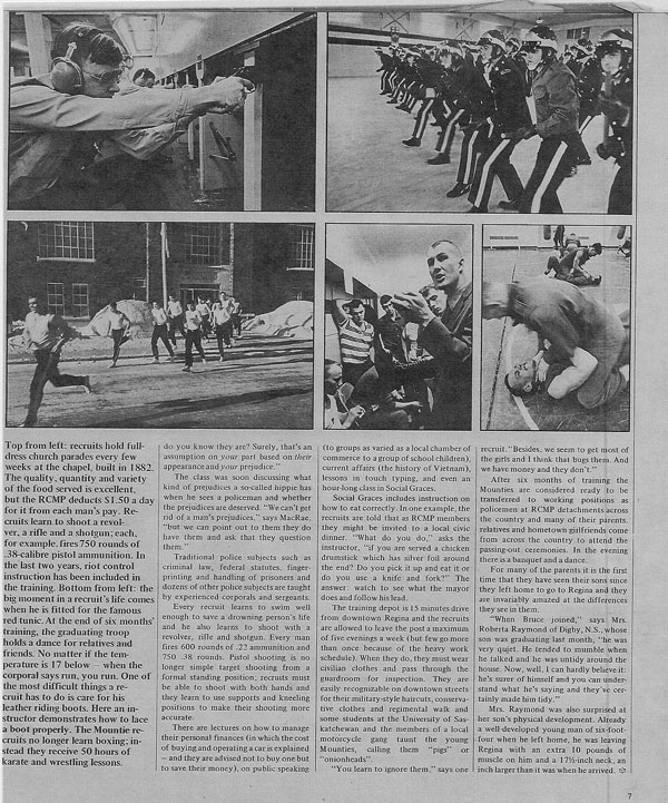 Photograph of 1971 Star Weekly magazine article on RCMP Depot training