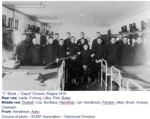 "1919 - Photograph of RNWMP recruits at ""Depot"" Division (Source of photo - Vancouver Division of the RCMP Veterans' Association)in 1919)."