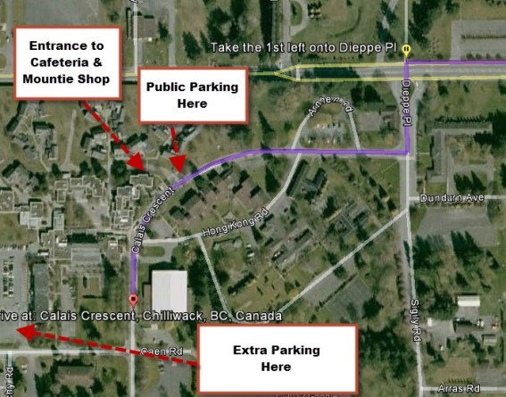 Map of the RCMP Pacific Region Training Centre with indications of parking areas and entrance to the Mountie Shop