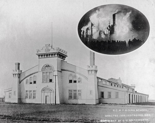"""Photograph of the RCMP """"Depot"""" Riding School burning down in 1920"""