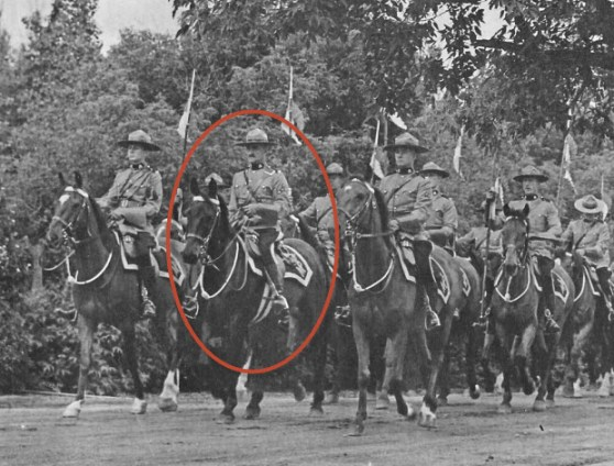 """Late 1930s - Photograph of S/Major Tim Griffin leading members of the RCMP Musical Ride.  Location is believed to be at """"Depot"""" Division in Regina. (Source of photo - Tim Griffin Collection)"""