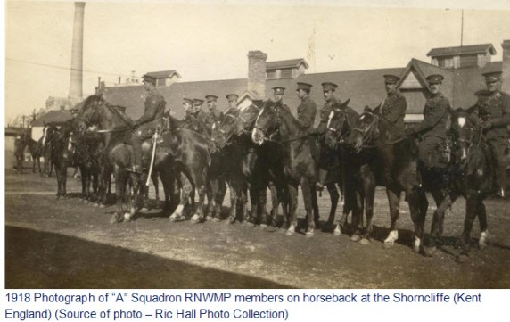 "Photograph of ""A"" Squadron RNWMP members in England"
