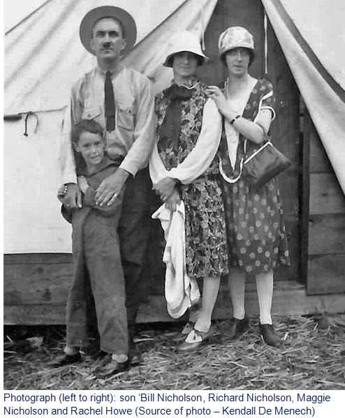 Photograph of Bill, Richard & Maggie Nicholson with Rachel Howe