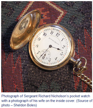 Photograph of RCMP Sergeant Richard Nicholson's pocket watch