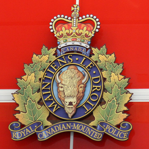 "Photograph of the RCMP Crest at the front entrance to the new ""E"" Division headquarters complex"