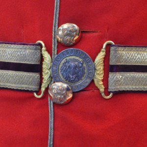 Photograph of Sam Steele's belt and red tunic which is on display at the RCMP Heritage Centre in Regina