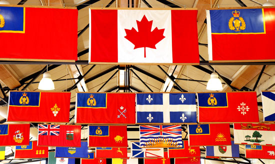 """Photograph of the flags in the """"Depot"""" Division Drill Hall (Source of photo - Sheldon Boles)"""