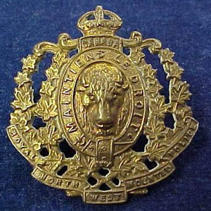 Photograph of a Royal Northwest Mounted Police (RNWMP) cap badge as worn by members from 1904 to 1919.