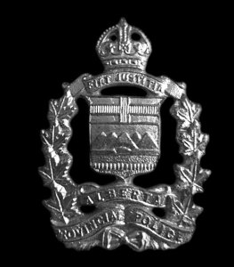 Photograph of the Alberta Provincial Police crest (Source of photo - Sheldon Boles).