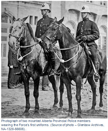 Photographs of the first uniform of the Alberta Provincial Police