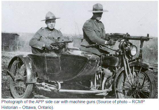 Photograph of the Alberta Provincial Police vehicles equipped with machine guns. (Source of photo - RCMP Historical Unit - HQ Ottawa)