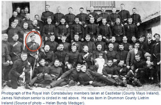 Photograph of Royal Irish Constabulary members at County Mayo Ireland