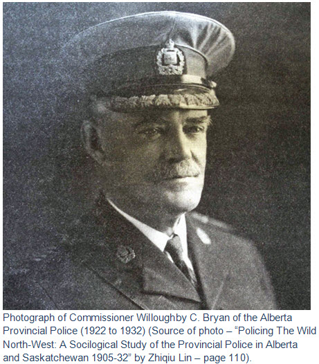 Photograph of Commissioner Teddy Bryan - Alberta Provincial Police (1922 - 1932).