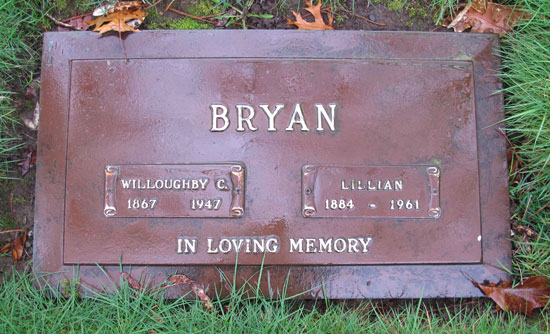 Photograph of the grave marker for Commissioner Teddy Bryan which is situated in the Royal Oak Burial Park in Saanich British Columbia (Source of photo - Sheldon Boles)
