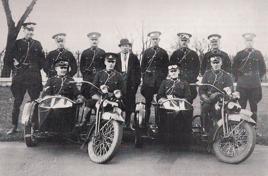 Photograph of early RCMP motorcycles (Source of photo - Ric Hall's Photo Collection)