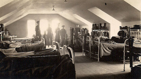 "1920 - Photograph of Constable Sidney Floyd's troop dorm on the top floor of old ""C"" Block which overlooked the parade square at ""Depot"" Division (Source of photo - Ric Hall's Photo Collection)"