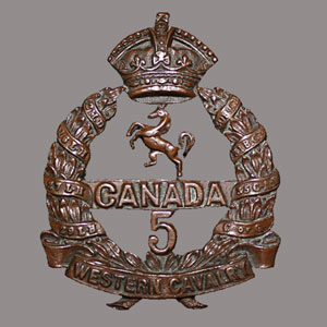 Photograph of the 5th Canadian Infantry Battalion (Western Cavalry) cap badge.
