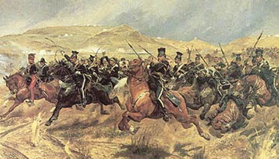 Painting of the British Light Brigade charging the Russian Guns at the Battle of Balaklava during the Crimean War.