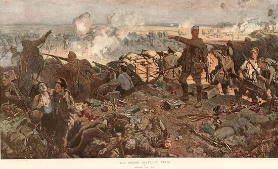 Painting of the Second Battle of the Ypres depicting members of the Canadian 1st Division.