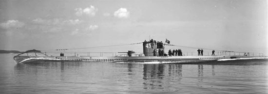 Photograph of a German U-boat on the surface.
