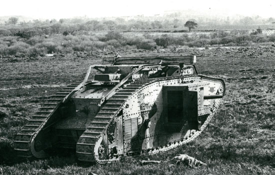 "British Mark IV tank which the 1st Canadian Tank Battalion used to train on (Source of photo - RCMP Historical Collections Unit - ""Depot"" Division)."