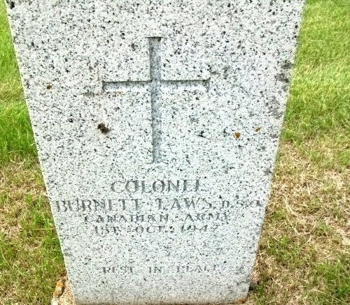 Photograph of Burnett Laws' grave marker (Source of photo - RCMP Gravesite database).