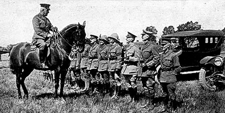 Photograph of Canadian officer at Valcartier Camp.   Brigadier General Sam Hughes is on horseback.