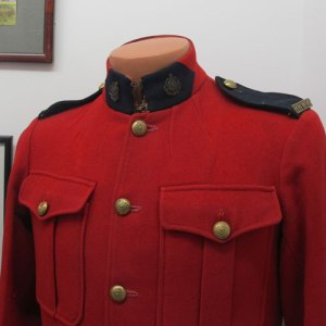 Photograph of a old RNWMP uniform at the Fred Light Museum in Battleford, Saskatchewan.
